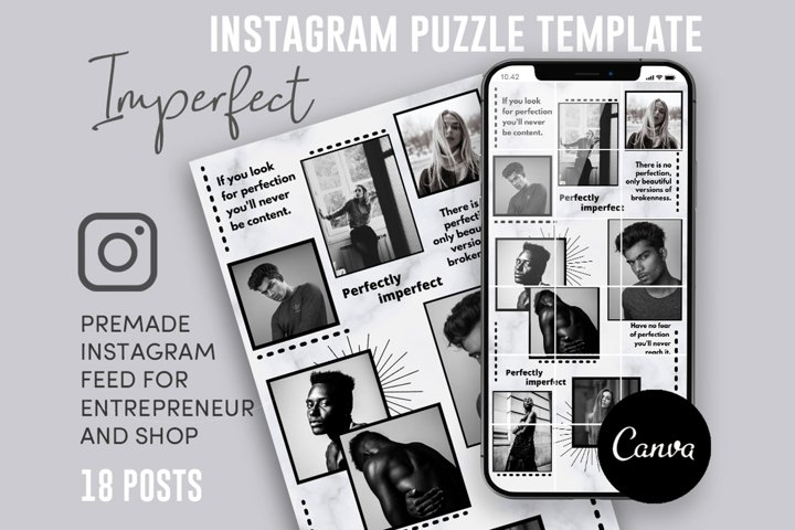 Imperfect, Black And White Instagram Puzzle Feed, 18 Posts