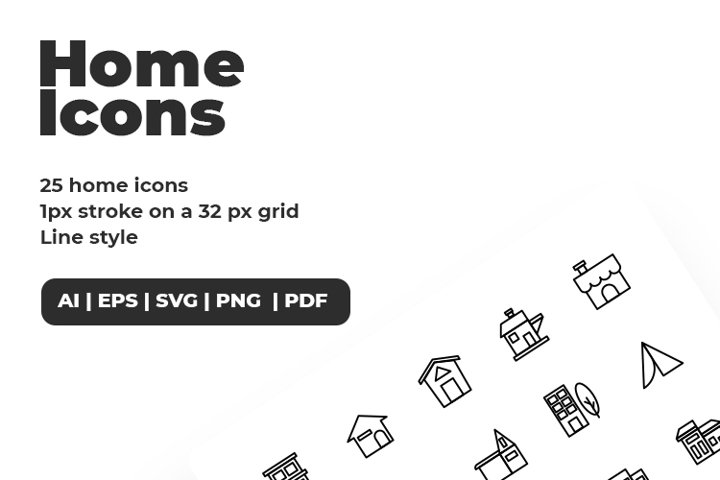 25 Black Minimalist Premium Home Line Icon Set