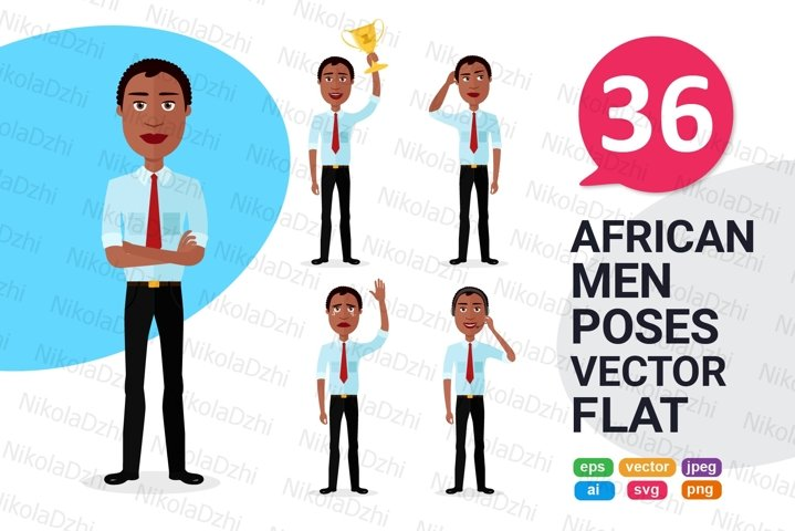 African men Character people Cartoon vector collection flat