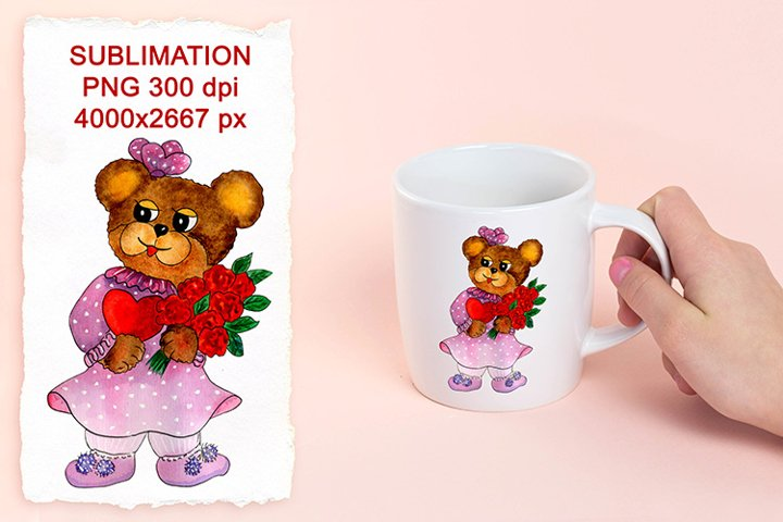 Bear girl with heart and flowers. PNG Sublimation design