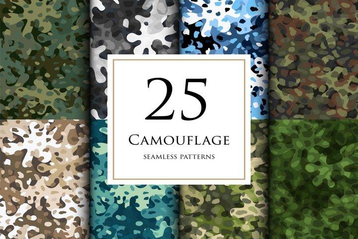 25 Vector digital camouflage masking seamless pattern set