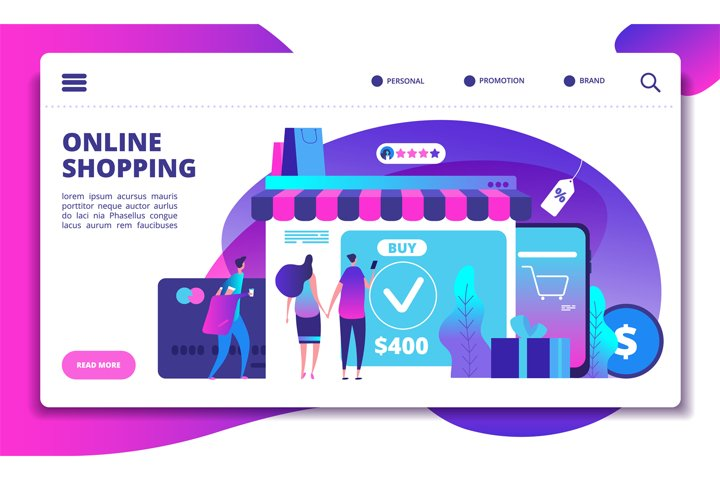 Online shopping concept. Modern payment technology with mobi