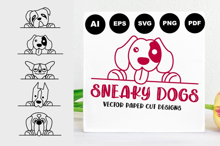 Sneaky Dogs, Holding Banner Style, Dogs Signs Designs SVG