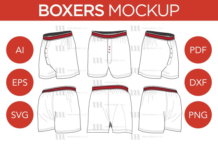 Boxers - Vector Template Mockup