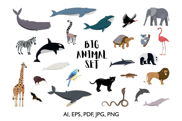 Big collection of forest and underwater animals.