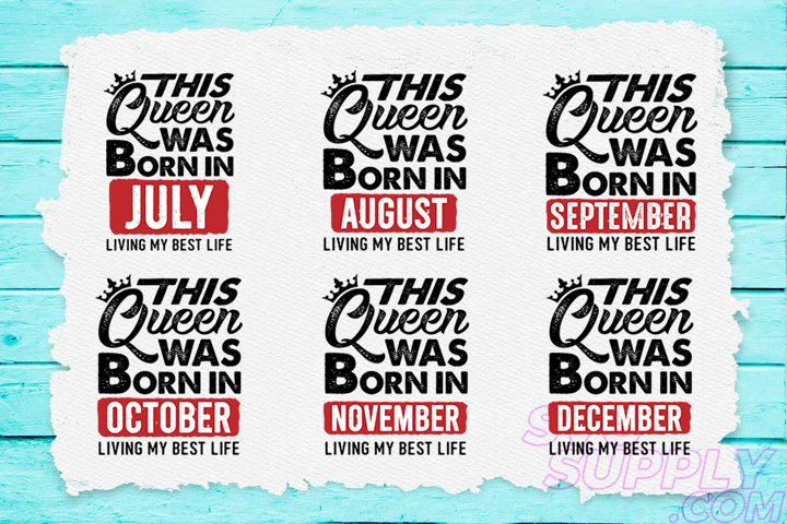 THIS Queen was born - Birthday SVG Designs Bundle