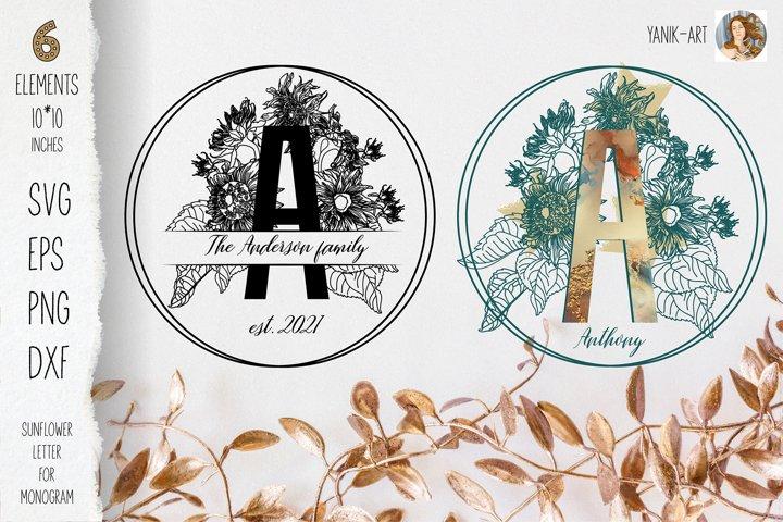 Sunflower Monogram A letter SVG PNG for cricut, sublimation