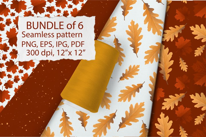 Bandle Fall leaves. Seamless patterns Autumn Digital paper