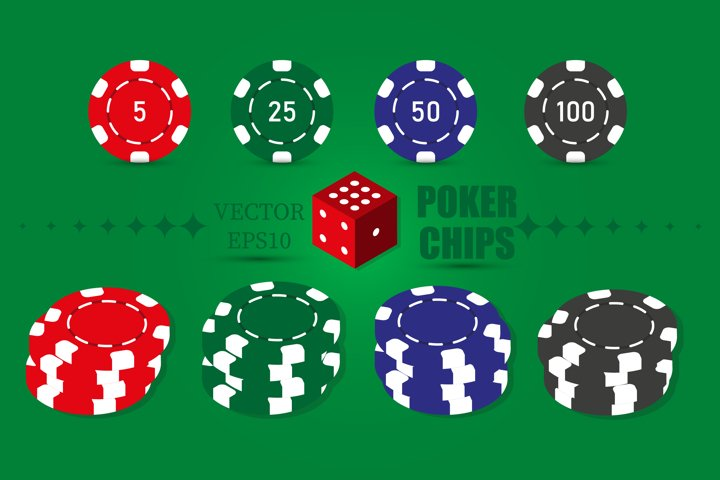 Poker set of casino chips icons with shadow. Red, green, blu