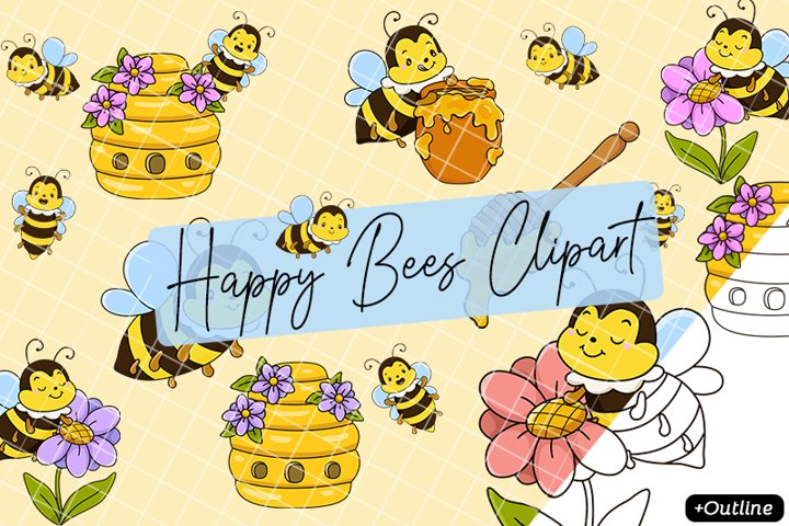 Happy Bees Flowers Beehive Honey Cute Bee Beekeeping Clipart