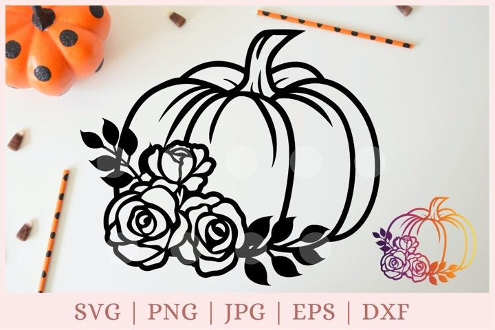 Floral pumpkin svg, halloween svg, fall svg, autumn svg