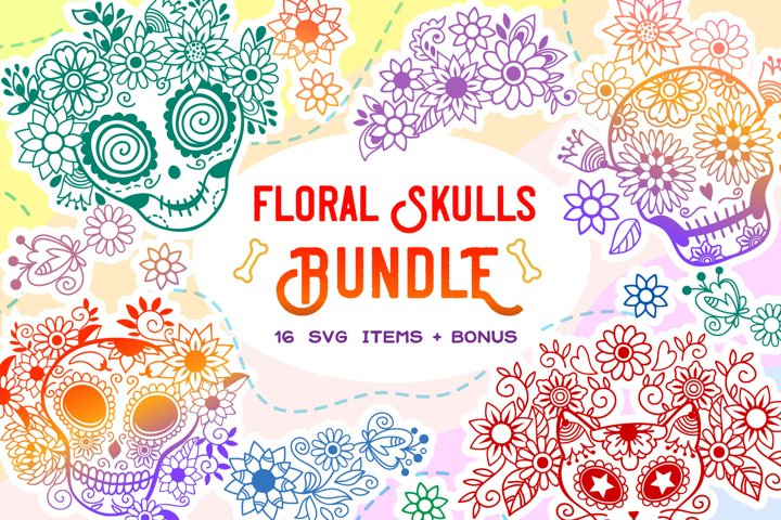 Floral Skulls Bundle - 16 SVG items & BONUS