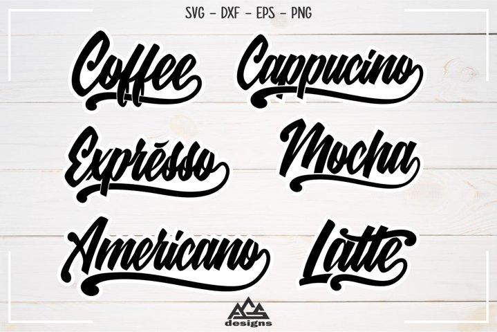 Coffee Lettering Packs Svg Design