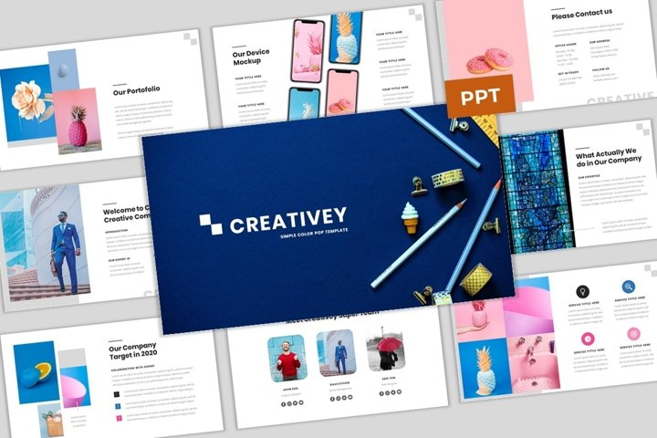 Creativey - Simple Color Pop Business PowerPoint Template