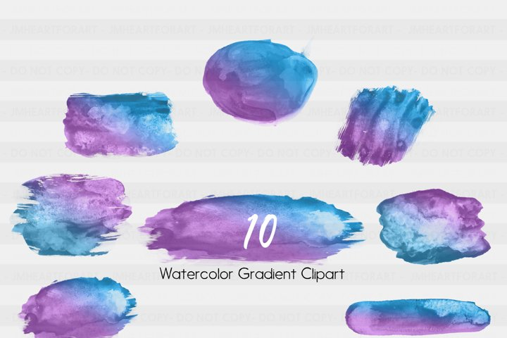 Brush Strokes-Watercolor clipart-Watercolor splashes-splatter clipart-Planner clipart-commercial use-Blue-Purple-Gradient Clipart-Sticker example 1
