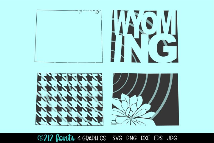 4 - Wyoming State Map Graphic Cut File DXF PNG JPG SVG EPS