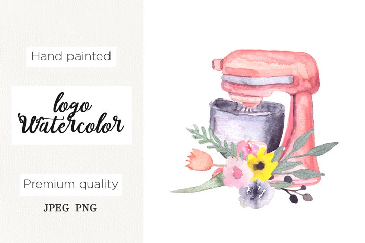 Watercolor logo bakery, mixer floral cooking clipart,kitchen