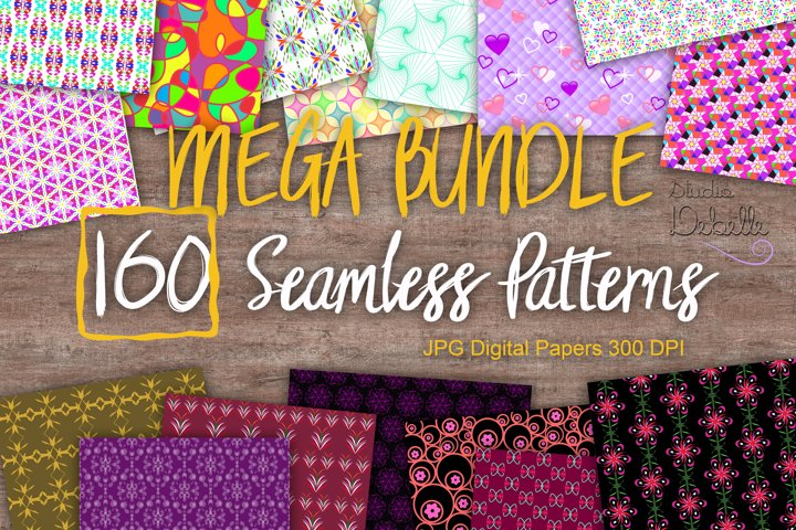 MEGA BUNDLE 160 Seamless Patterns Digital Paper