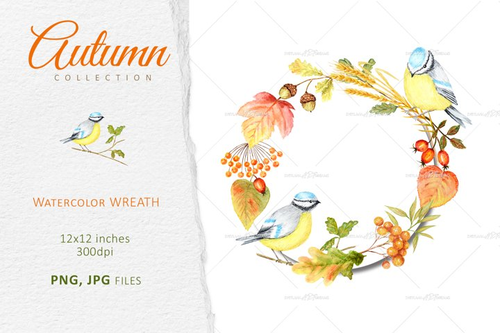 Autumn birds Blue Tit Wreath Clipart, Watercolor Fall Frame