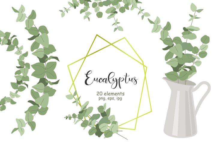 Greenery eucalyptus clipart, wreath png, leaf posters