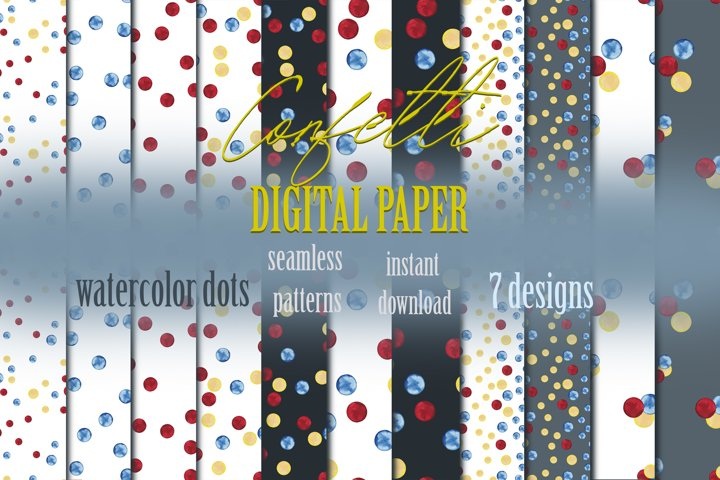 Polka dots digital paper Watercolor clipart Seamless pattern