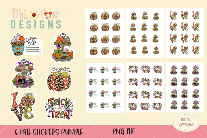 Fall stickers bundle, PNG, pumpkin coffee stickers