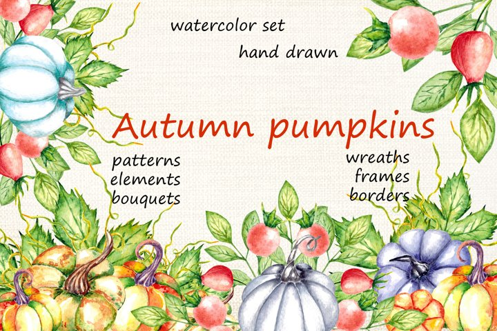 Autumn Pumpkins. Watercolor Set. Fall Pumpkins, Halloween