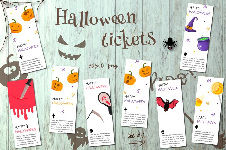 Haloween party tickets collection.