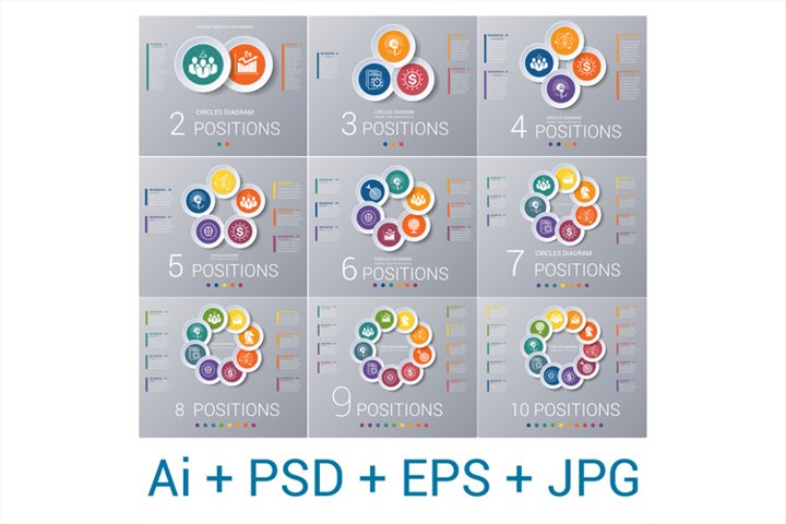 Template infographics 2,3,4,5,6,7,8,9,10 positions