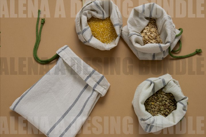 Cereals In Textile Bags Flat Lay