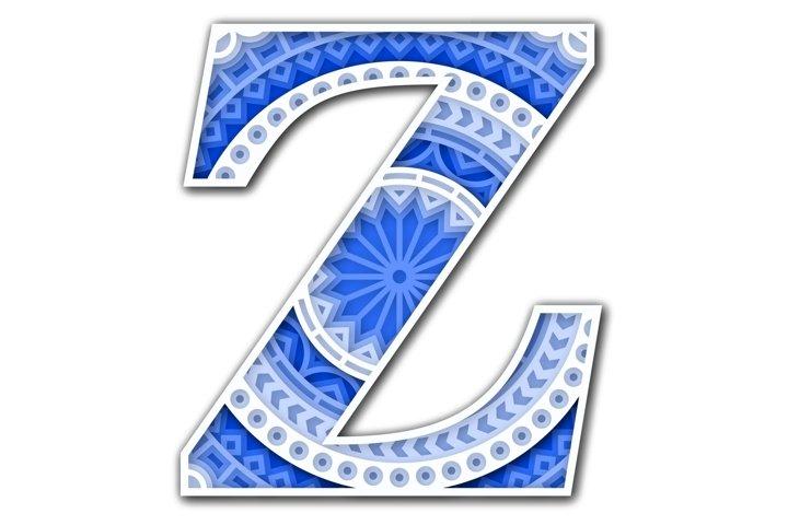 Layered Letter Z, Layered letters SVG, Letter Mandala