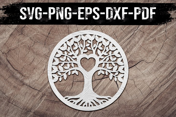 Family Tree Heart Paper Cut Template, Home Decor, SVG, DXF