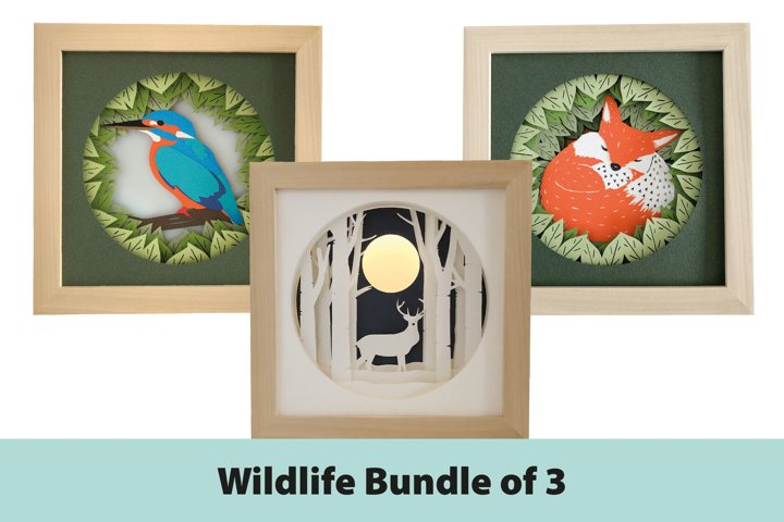 Wildlife Shadow Box 3D Papercut Template Bundle
