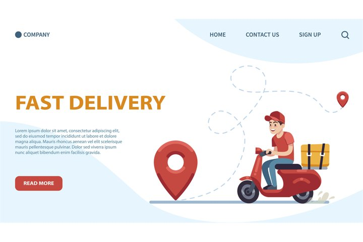 Delivery landing page. Courier, guy on moped against backdro