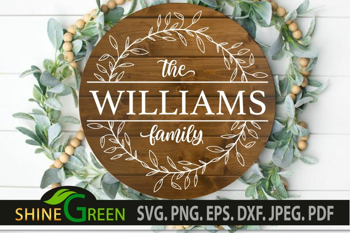 Farmhouse Family Monogram SVG Round Sign Frame