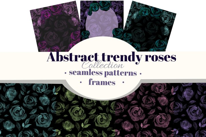 Abstract trendy watercolor roses farmes and seamless pattern