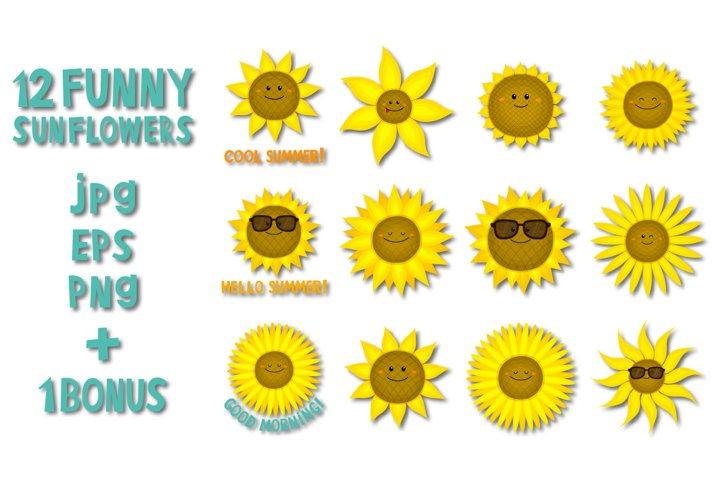 Funny sunflowers icon set