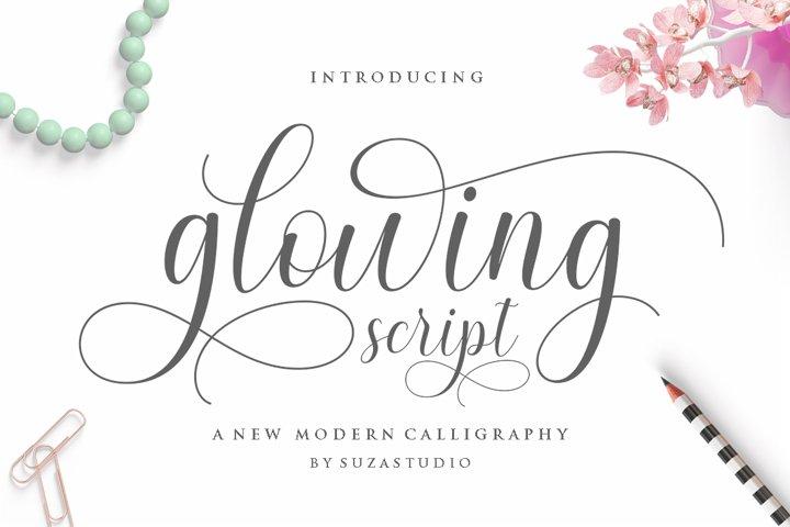 glowing script