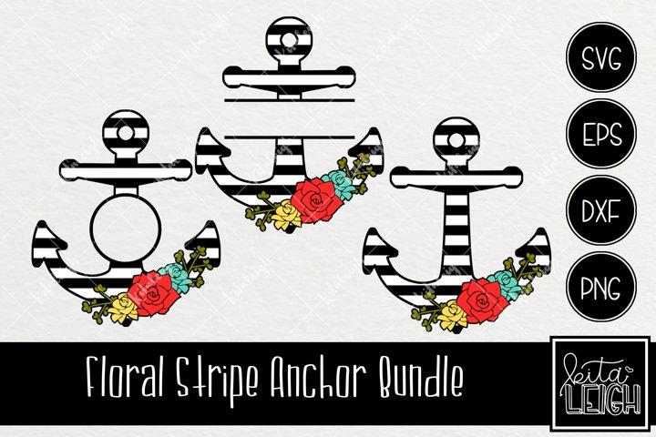 Floral Stripe Anchors SVG