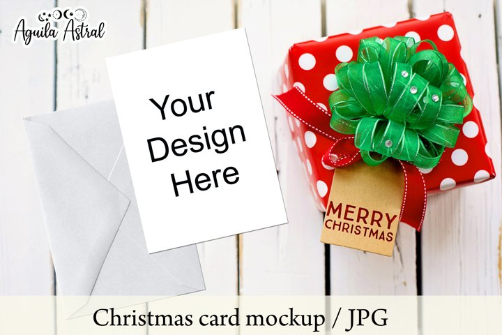 Christmas card mockup, holiday card mockup, invitation card