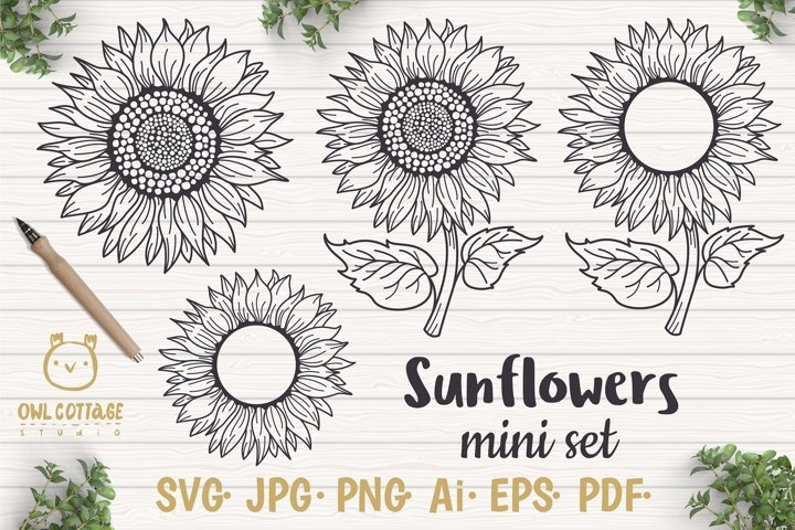 Sunflower Monograms svg, Sunflower mini bundle, Sunflower cl