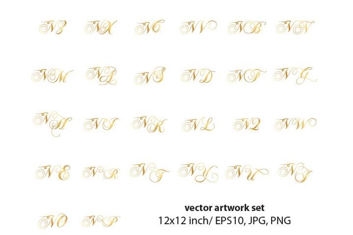 Calligraphic golden monogram set, letter N