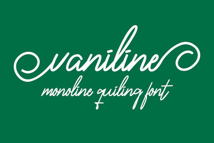Vaniline signature - hairline font