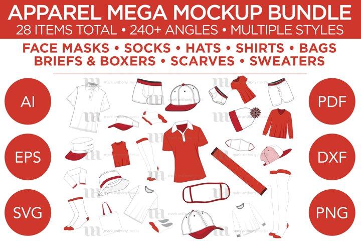 Apparel Mega Bundle - Vector Template Mockup