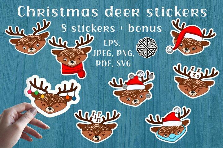 Christmas Deer Stickers SVG, PNG files. Cute files.