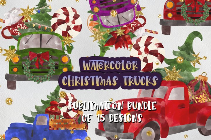 Watercolor Red Trucks Christmas Farm Sublimation designs