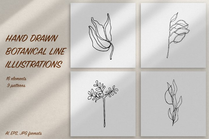 Hand drawn botanical line illustrations