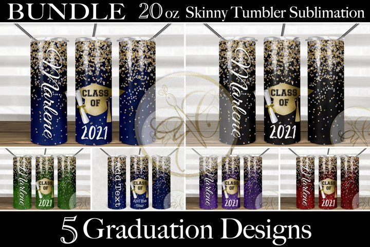 BUNDLE Graduation 2oz Skinny Tumbler Sublimation