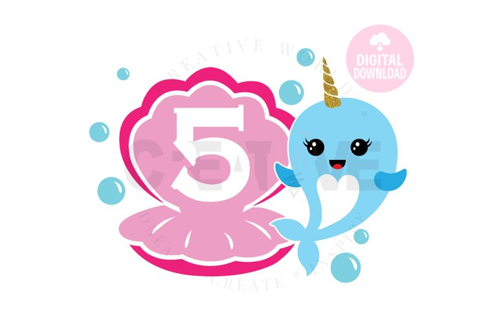 5th Birthday svg | My 5th Birthday svg | Narwhal Birthday