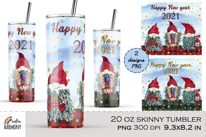 20 Oz tumbler. Evergreen Christmas gnomes